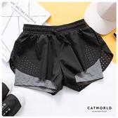 Catworld 洞洞滾邊防走光雙層運動短褲【14001131】‧S/M/L/XL
