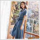 連身裙 條紋拼接牛仔短袖洋裝IG8123...