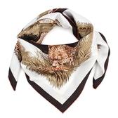 HERMES guepands動物豹斜紋真絲方巾370024