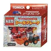 小禮堂 TOMICA多美小汽車 造型貼紙組 手帳貼紙 卡片貼紙 貼紙包 (紅 工程車) 4991277-63891