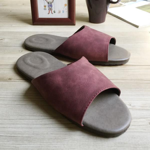 台灣製造-風格系列-麂皮紋皮質室內拖鞋-紅