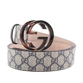 【GUCCI】大雙G 銀logo防水皮革皮帶 100cm(海軍藍) GU1B000019