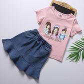 童裝女童套裝夏裝牛仔裙子2018新款兒童T恤短袖套裙兩件套裝 限時八折 最后一天