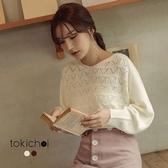 東京著衣-法式甜美多色寬袖針織上衣-S.M(172454)