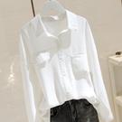 棉麻白色長袖襯衫女設計感小眾寬鬆2021新款春秋修身顯瘦襯衣C154 設計師