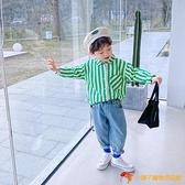 男童襯衫韓版尖領翻領童裝春秋長袖綠色條紋純棉襯衣春裝【小獅子】