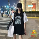 藍球服女寬鬆韓版夏季中長款短袖t恤假兩件...