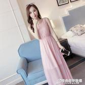 純色雪紡連身裙夏裝新款女無袖收腰顯瘦海邊度假波西米亞長裙 時尚芭莎