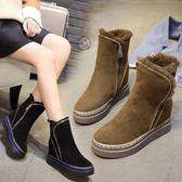 現貨雪地靴女皮毛一體加厚保暖側拉鍊內增高中筒靴鬆糕底厚底棉鞋女冬 38/淺棕色 僅此一件1-22