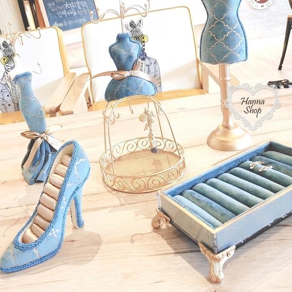 《花花創意会社》限定。歐風燙金質感蒂芬妮藍櫥窗展示飾品掛架【H6735】