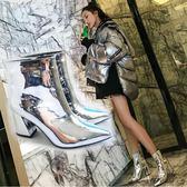 歐美漆皮銀色高跟鞋女2018新款女百搭粗跟馬丁加絨裸靴尖頭短靴女