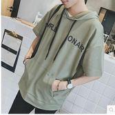 夏季男士情侶寬鬆連帽休閒短袖T恤PLL3645【男人與流行】