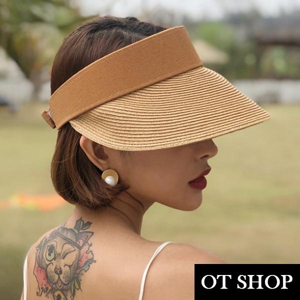 [現貨]帽子 春夏中空帽 空頂帽 草編帽 遮陽帽 帽圍可調 海邊沙灘渡假穿搭配件 卡其色 C2150 OT SHOP