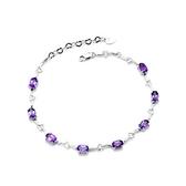 紫水晶手鍊 925純銀-精美別緻優雅百搭生日情人節禮物女飾品73lh55【時尚巴黎】