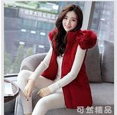 新款韓版棉馬甲女春秋冬中長款學生背心女士坎肩馬甲大碼外套 可然精品
