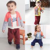 長袖連身衣 假3件 條紋開襟 男寶寶 女寶寶 爬服 哈衣 Augelute Baby 50787