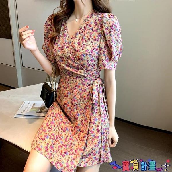 雪紡洋裝 2021夏季新款韓版收腰顯瘦雪紡短裙小碎花系帶不規則氣質連身裙女 618狂歡