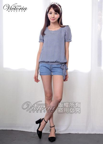 Victoria 格紋雪紡綁帶短袖T-女-藍格
