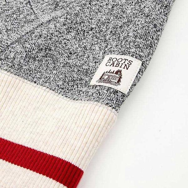 男裝ROOTS 溫馨佳節刷毛連帽外套-灰色