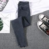 藍灰色牛仔褲女小腳褲春款韓版高腰緊身港味九分褲鉛筆褲