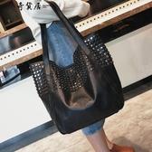 港風大包包2019冬新款女包歐美時尚鉚釘側背包休閒簡約手提購物袋 蘭桂坊