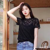 蕾絲衫時尚T恤短袖女2019夏新款甜美超仙氣質仙女洋氣韓版上衣 BP1098【Sweet家居】