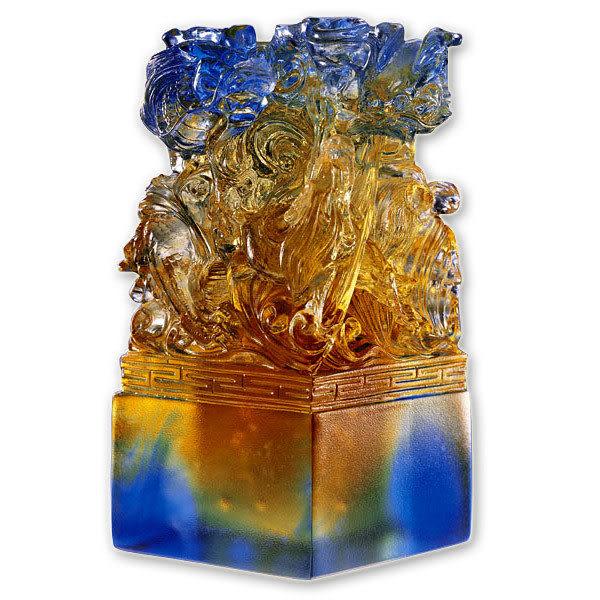 居家開運水晶琉璃-龍璽呈祥-文鎮 印章 擺飾多用途◆附精美包裝◆免運費送到家
