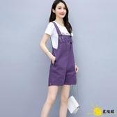 吊帶褲 紫色背帶短褲套裝女夏2020新款韓版寬鬆減齡洋氣小個子五分