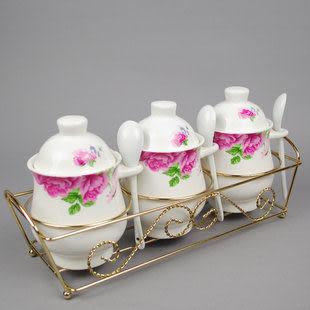 藝術優雅系列 高腳紅、藍玫瑰調味罐三件裝 喜慶調味瓶擺件