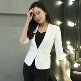 西裝外套 短款外套女七分袖小西服修身顯瘦胖mm休閒西服