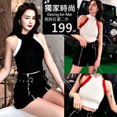 克妹Ke-Mei【AT52956】chic心機名媛 年輕感撞色吊頸削肩針織背心