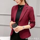 外套 春秋新款chic職業百搭西服長袖韓版修身顯瘦小西裝外套女短款 莫妮卡小屋