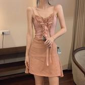 港風性感修身綁帶洋裝女夏季新款蝴蝶結系帶中長款吊帶裙子 夢想生活家