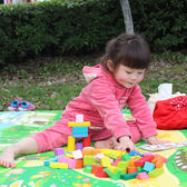 實木制大塊積木男女孩1-2歲寶寶益智啟蒙3-6周歲兒童拼裝木頭玩具 情人節特別禮物