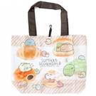 小禮堂 角落生物 折疊尼龍環保購物袋 環保袋 側背袋 (棕白 麵包) 4990270-12722