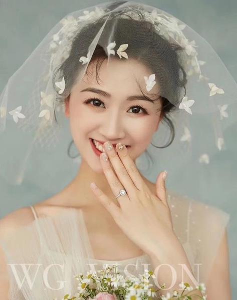 韓式手工蕾絲花朵新娘頭紗婚紗頭飾小頭紗拍照寫真旅拍造型短款