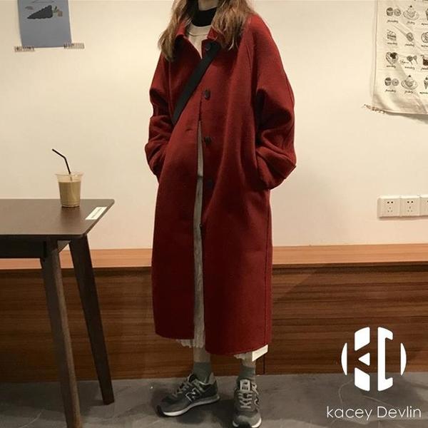 黑色毛呢外套女呢子大衣中長款日系【Kacey Devlin】