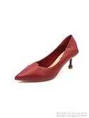 婚鞋高跟鞋女鞋子夏季新款百搭時尚紅色婚鞋尖頭細跟單鞋【凱斯盾】