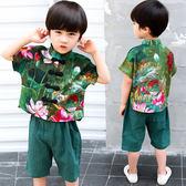 中大尺碼 兒童夏裝中國風唐裝3歲男童2男寶寶6民族風3改良漢服4小男孩衣服 qz61【甜心小妮童裝】