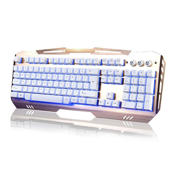 金屬面板電競游戲台式筆記本電腦網吧鍵盤 有線發光懸浮機械手感  SSJJG