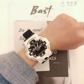 時尚潮男電子錶男多功能夜光防水雙顯跑步計時運動手錶女韓版學生 俏女孩