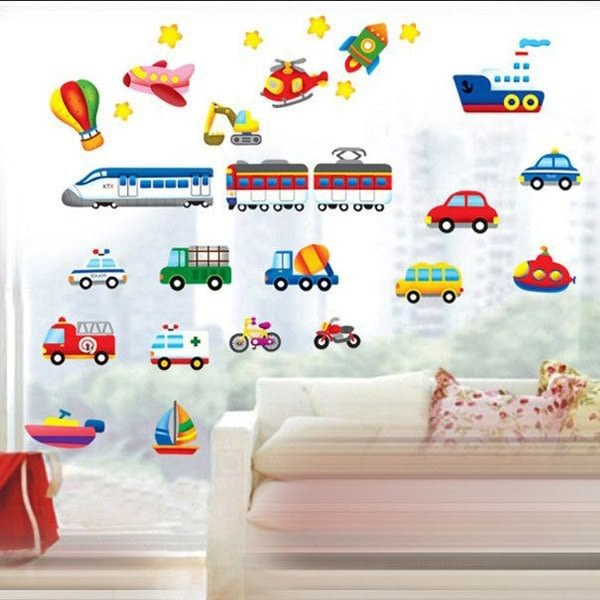 DIY時尚裝飾組合可移動壁貼 牆貼 創意壁貼 卡通車飛機火車DM57-0141 TC1112【YV0631】BO雜貨