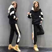 運動套裝 羊羔絨衛衣運動套裝女秋冬季2019新款時尚洋氣加厚加絨休閒兩件套 曼慕衣櫃
