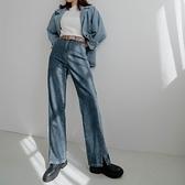 現貨-MIUSTAR 小皮標褲腳開衩牛仔褲(共1色,S-XL)【NJ2620】