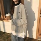 大學T 條紋女韓版寬鬆bf慵懶風薄款假兩件ins初秋外套 - 歐美韓