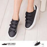 [Here Shoes]3色 舒適皮革質感魔鬼氈方便穿脫 帆布鞋 懶人鞋 平底鞋 球鞋─KH6850
