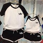 親子裝親子裝母子裝韓國童裝夏韓版男女童純棉短袖T恤短褲休閒運動套裝 貝芙莉