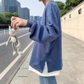 日系 新款衛衣潮牌假兩件長袖t恤男士胖子 寬鬆百搭打底衫 歐韓流行館