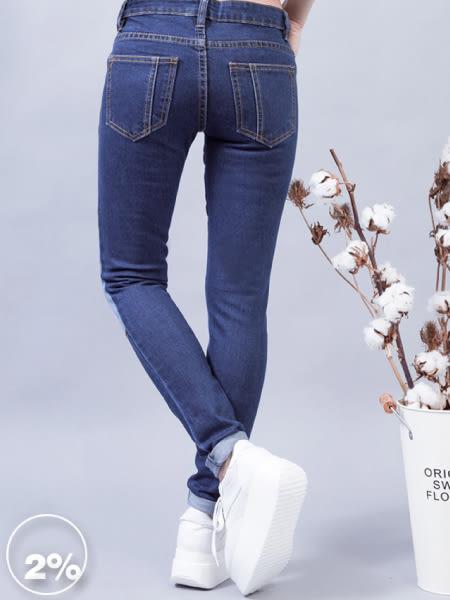 【2%】2%顯瘦拼接色塊牛仔褲-藍