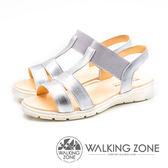 WALKING ZONE (女)閃耀一夏 真皮坡跟涼鞋-銀